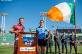 """""""Galway hurling player Dave Collins and Dublin hurling player Mark Schutte speak during a press conference announcing the AIG Fenway Hurling Classic and Irish Festival Announcement, at Fenway Park in Boston, Massachusetts Tuesday, September 15, 2015."""""""