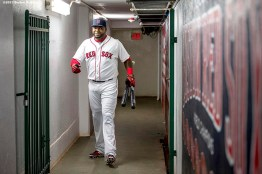 """""""Boston Red Sox designated hitter David Ortiz walks through the tunnel during a ceremony recognizing his 500th career home run before a game against the Tampa Bay Rays at Fenway Park in Boston, Massachusetts Monday, September 21, 2015."""""""