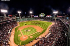 """""""Kids form a 500 formation in the outfield during a ceremony recognizing Boston Red Sox designated hitter David Ortiz' 500th career home run before a game against the Tampa Bay Rays at Fenway Park in Boston, Massachusetts Monday, September 21, 2015."""""""