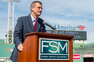 """""""Boston Red Sox Chief Operating Officer Sam Kennedy speaks during a press conference announcing a Big Air ski and snowboard competition at Fenway Park in Boston, Massachusetts Tuesday, September 22, 2015."""""""