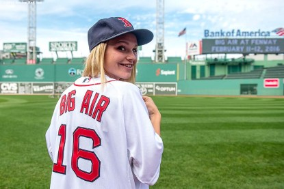 """""""Snowboarder Ty Walker poses for a photograph during a press conference announcing a Big Air ski and snowboard competition at Fenway Park in Boston, Massachusetts Tuesday, September 22, 2015."""""""