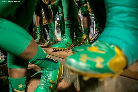 """""""Members of Notre Dame walk into the locker room during the Shamrock Series Football at Fenway game against Boston College at Fenway Park in Boston, Massachusetts Saturday, November 21, 2015."""""""