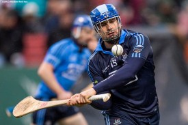 """""""Game action during the AIG Hurling Classic and Irish Festival game between Dublin and Galway at Fenway Park in Boston, Massachusetts Saturday, November 22, 2015."""""""