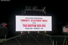 """""""The scoreboard is shown during a B'Nai B'Rith event at Fenway Park in Boston, Massachusetts Tuesday, November 17, 2015."""""""