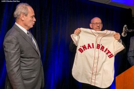 """""""Boston Red Sox President & CEO Emeretus Larry Lucchino is honored during a B'Nai B'Rith event at Fenway Park in Boston, Massachusetts Tuesday, November 17, 2015."""""""