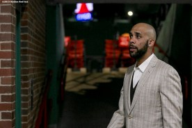 """""""Pitcher David Price walks through the concourse before a press conference after agreeing to a seven year contract with the Boston Red Sox at Fenway Park in Boston, Massachusetts Friday, December 4, 2015."""""""