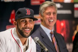 """""""Pitcher David Price addresses the media during a press conference after agreeing to a seven year contract with the Boston Red Sox at Fenway Park in Boston, Massachusetts Friday, December 4, 2015."""""""
