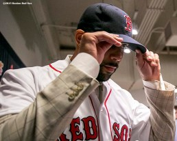 """""""Pitcher David Price adjusts his cap after addressing the media during a press conference after agreeing to a seven year contract with the Boston Red Sox at Fenway Park in Boston, Massachusetts Friday, December 4, 2015."""""""