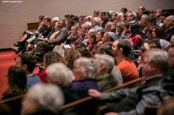 """Guests attend Qabbalat Shabbat services at Temple Israel in Boston, Massachusetts Friday, January 15, 2016."""