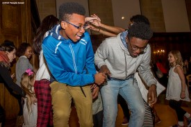 """""""Guests participate in Israeli dancing at an Oneg following Qabbalat Shabbat services at Temple Israel in Boston, Massachusetts Friday, January 15, 2016."""""""