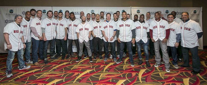 """""""Members of the Boston Red Sox pose for a team photograph at the NESN Town Hall during the 2016 Winter Weekend at Foxwoods Resort & Casino in Ledyard, Connecticut Friday, January 22, 2016."""""""
