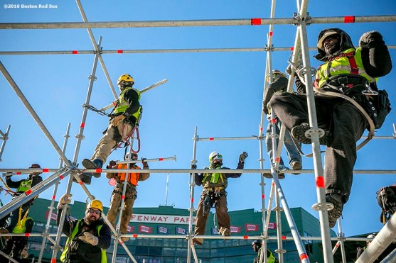 """""""Workers construct scaffolding as construction continues on the Big Air at Fenway ski and snowboard ramp at Fenway Park in Boston, Massachusetts Wednesday, January 20, 2016."""""""