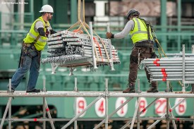 """""""Workers move scaffolding as construction continues on the Polartec Big Air at Fenway ski and snowboard ramp at Fenway Park in Boston, Massachusetts Tuesday, January 26, 2016. """""""