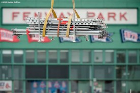 """""""Scaffolding is loaded in as construction continues on the Polartec Big Air at Fenway ski and snowboard ramp at Fenway Park in Boston, Massachusetts Tuesday, January 26, 2016."""""""