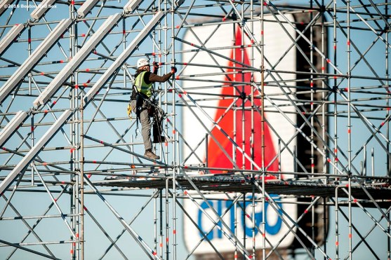 """""""A worker builds scaffolding as construction continues on the Polartec Big Air at Fenway ski and snowboard ramp at Fenway Park in Boston, Massachusetts Thursday, January 28, 2016."""""""