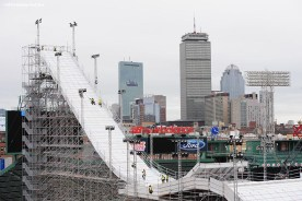 """""""Construction continues on the Polartec Big Air at Fenway ski and snowboard ramp at Fenway Park in Boston, Massachusetts Wednesday, February 3, 2016. """""""
