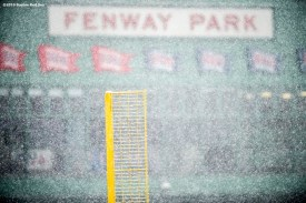 """""""Pesky Pole is shown as snow falls at Fenway Park in Boston, Massachusetts Friday, February 5, 2016."""""""