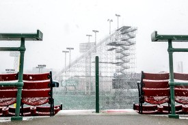 """""""Construction continues on the Polartec Big Air ski and snowboard ramp as snow falls at Fenway Park in Boston, Massachusetts Friday, February 5, 2016."""""""