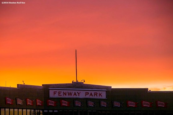 """""""The facade is shown while the sun sets as construction continues on the Polartec Big Air ski and snowboard ramp at Fenway Park in Boston, Massachusetts Friday, February 5, 2016."""""""
