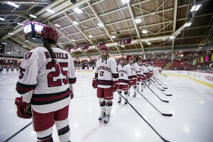 """""""Starting lineups are introduced during a women's hockey game between Harvard University and Yale University at Harvard University in Cambridge, Massachusetts Saturday, February 6, 2016. """""""