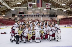 """""""A Senior Day ceremony is held following a women's hockey game between Harvard University and Yale University at Harvard University in Cambridge, Massachusetts Saturday, February 6, 2016."""""""