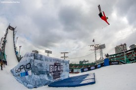 """""""A skier jumps off the ramp during the Polartec Big Air at Fenway ski and snowboard competition at Fenway Park in Boston, Massachusetts Thursday, February 11, 2016."""""""
