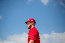 """""""Boston Red Sox pitcher Craig Kimbrel looks on during a workout at JetBlue Park in Fort Myers, Florida Saturday, February 20, 2016."""""""