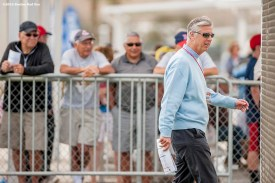 FT. MYERS, FL - FEBRUARY 26: President of Baseball Operations David Dombrowski of the Boston Red Sox looks on during a team workout on February 26, 2016 at Fenway South in Fort Myers, Florida . (Photo by Billie Weiss/Boston Red Sox/Getty Images) *** Local Caption *** David Dombrowski