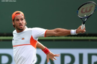 """""""Feliciano Lopez in action against Guillermo Garcia-Lopez during the 2016 BNP Paribas Open at the Indian Wells Tennis Garden in Indian Wells, California Sunday, March 13, 2016."""""""
