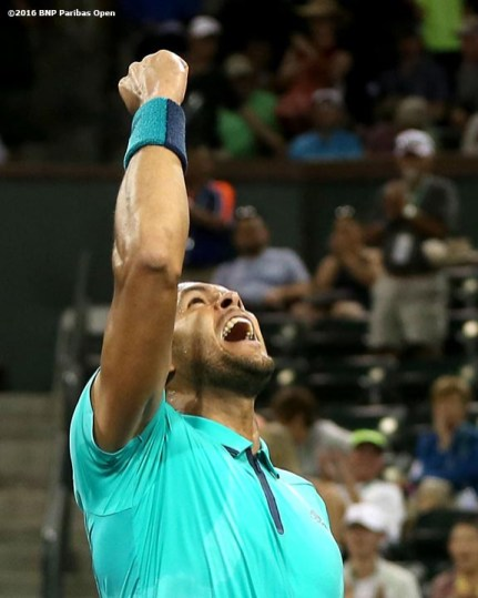 """""""Jo-Wilfried Tsonga reacts during a match against Sam Querrey during the 2016 BNP Paribas Open at the Indian Wells Tennis Garden in Indian Wells, California Tuesday, March 15, 2016."""""""