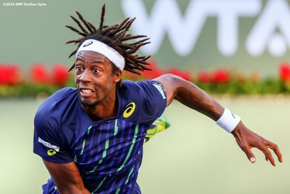 """""""Gael Monfils in action against Federico Delbonis during the 2016 BNP Paribas Open at the Indian Wells Tennis Garden in Indian Wells, California Wednesday, March 16, 2016."""""""