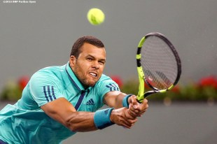 """""""Jo-Wilfried Tsonga in action against Dominic Thiem during the 2016 BNP Paribas Open at the Indian Wells Tennis Garden in Indian Wells, California Wednesday, March 16, 2016."""""""