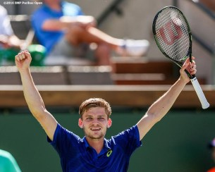 """""""David Goffin reacts after defeating Marin Cilic during the 2016 BNP Paribas Open at the Indian Wells Tennis Garden in Indian Wells, California Wednesday, March 17, 2016."""""""