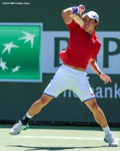 March 18, 2016, Palm Springs, CA: Kei Nishikori in action during a quarter-final match against Rafael Nadal during the 2016 BNP Paribas Open at the Indian Wells Tennis Garden in Indian Wells, California Friday, March 18, 2016. (Photos by Billie Weiss/BNP Paribas Open)