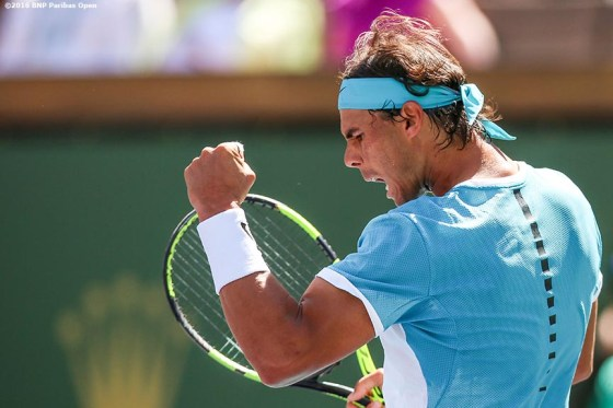March 18, 2016, Palm Springs, CA: Rafael Nadal in action during a quarter-final match against Kei Nishikori during the 2016 BNP Paribas Open at the Indian Wells Tennis Garden in Indian Wells, California Friday, March 18, 2016. (Photos by Billie Weiss/BNP Paribas Open)