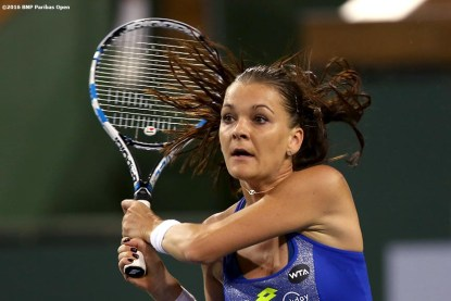 March 18, 2016, Palm Springs, CA: Agnieszka Radwanska in action the women's semi-final match against Serena Williams during the 2016 BNP Paribas Open at the Indian Wells Tennis Garden in Indian Wells, California Friday, March 18, 2016. (Photos by Billie Weiss/BNP Paribas Open)