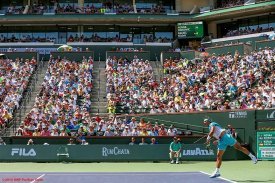 """""""The stadium is shown during the men's semi-final match between Novak Djokovic and Rafael Nadal during the 2016 BNP Paribas Open at the Indian Wells Tennis Garden in Indian Wells, California Saturday, March 19, 2016."""""""