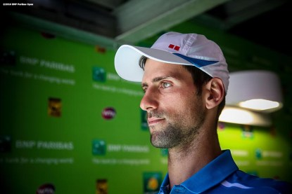 """""""Novak Djokovic walks through the tunnel before the men's finals match against Milos Raonic during the 2016 BNP Paribas Open at the Indian Wells Tennis Garden in Indian Wells, California Sunday, March 20, 2016."""""""
