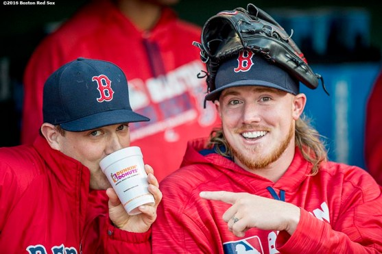 BOSTON, MA - APRIL 20: Steven Wright #35 and Robbie Ross Jr. #28 of the Boston Red Sox joke before a game against the Tampa Bay Rays on April 20, 2016 at Fenway Park in Boston, Massachusetts . (Photo by Billie Weiss/Boston Red Sox/Getty Images) *** Local Caption *** Steven Wright; Robbie Ross Jr.