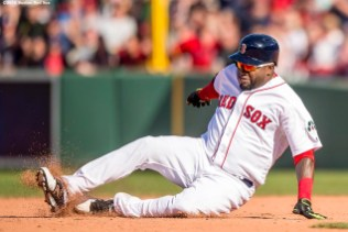 BOSTON, MA - APRIL 21: David Ortiz #34 of the Boston Red Sox slides into second base after hitting a double during the seventh inning of a game against the Tampa Bay Rays on April 21, 2016 at Fenway Park in Boston, Massachusetts . (Photo by Billie Weiss/Boston Red Sox/Getty Images) *** Local Caption *** David Ortiz