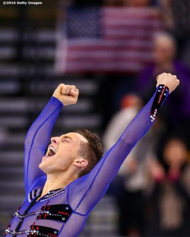 BOSTON, MA - APRIL 1: Adam Rippon of the United States reacts after competing during Day 5 of the ISU World Figure Skating Championships 2016 at TD Garden on April 1, 2016 in Boston, Massachusetts. (Photo by Billie Weiss - ISU/ISU via Getty Images) *** Local Caption *** Adam Rippon