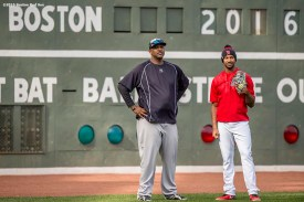BOSTON, MA - APRIL 29: CC Sabathia #52 of the New York Yankees talks with Chris Young #30 of the Boston Red Sox before a game on April 29, 2016 at Fenway Park in Boston, Massachusetts . (Photo by Billie Weiss/Boston Red Sox/Getty Images) *** Local Caption *** CC Sabathia; Chris Young
