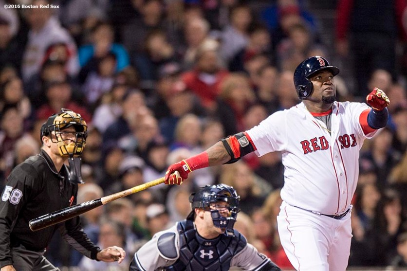 BOSTON, MA - APRIL 30: David Ortiz #34 of the Boston Red Sox hits a solo home run during the seventh inning of a game against the New York Yankees on April 30, 2016 at Fenway Park in Boston, Massachusetts . (Photo by Billie Weiss/Boston Red Sox/Getty Images) *** Local Caption *** David Ortiz