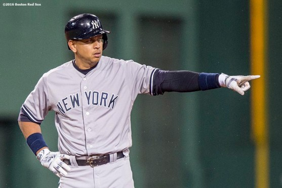 BOSTON, MA - MAY 1: Alex Rodriguez #13 of the New York Yankees reacts after hitting an RBI double during the fifth inning of a game against the Boston Red Sox on May 1, 2016 at Fenway Park in Boston, Massachusetts. (Photo by Billie Weiss/Boston Red Sox/Getty Images) *** Local Caption *** Alex Rodriguez