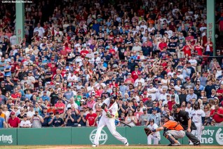 BOSTON, MA - MAY 14: David Ortiz #34 of the Boston Red Sox hits a game tying RBI triple during the ninth inning of a game against the Houston Astros on May 14, 2016 at Fenway Park in Boston, Massachusetts. (Photo by Billie Weiss/Boston Red Sox/Getty Images) *** Local Caption *** David Ortiz