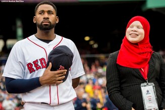 BOSTON, MA - JUNE 5: Center fielder Jackie Bradley Jr. looks on as the 2016 Class of Boston Red Sox scholars are introduced before a game between the Boston Red Sox and the Toronto Blue Jays on June 5, 2016 at Fenway Park in Boston, Massachusetts. (Photo by Billie Weiss/Boston Red Sox/Getty Images) *** Local Caption ***