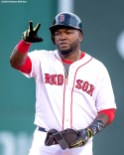 BOSTON, MA - JUNE 14: David Ortiz #34 of the Boston Red Sox reacts after hitting a double during the second inning of a game against the Baltimore Orioles on June 14, 2016 at Fenway Park in Boston, Massachusetts. (Photo by Billie Weiss/Boston Red Sox/Getty Images) *** Local Caption *** David Ortiz