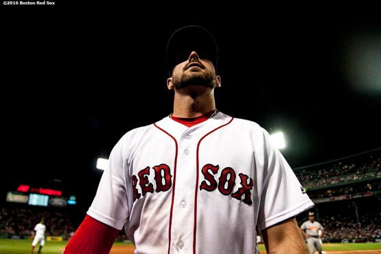 BOSTON, MA - JUNE 16: Travis Shaw #47 of the Boston Red Sox looks on as a foul ball lands in the stands during the seventh inning of a game against the Baltimore Orioles on June 16, 2016 at Fenway Park in Boston, Massachusetts. (Photo by Billie Weiss/Boston Red Sox/Getty Images) *** Local Caption *** Travis Shaw
