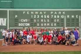 June 22, 2016, Boston, MA: Fans pose for a group photograph during the Girls of Summer event at Fenway Park in Boston, Massachusetts Tuesday, June 22, 2016. (Photo by Billie Weiss/Boston Red Sox)