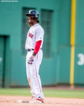 BOSTON, MA - JULY 3: Hanley Ramirez #13 of the Boston Red Sox reacts after hitting an RBI double during the eighth inning of a game against the Los Angeles Angels of Anaheim on July 3, 2016 at Fenway Park in Boston, Massachusetts. (Photo by Billie Weiss/Boston Red Sox/Getty Images) *** Local Caption *** Hanley Ramirez